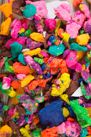 Dry colorful play dough in smal pieces