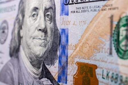 Close up of Benjamin Franklin face on 100 US dollar bill 스톡 콘텐츠 - 107485912