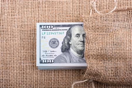 Close up of Benjamin Franklin face on 100 US dollar bill 스톡 콘텐츠 - 107487495