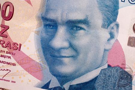 Hand holding Turksh Lira banknotes on white background Stock fotó