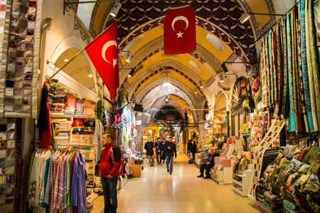 View of the shops in the Grand Bazaar in Istanbul
