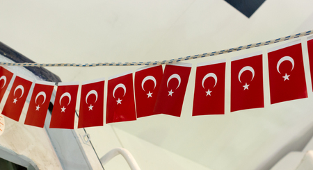 Turkish national flag in open air on a rope