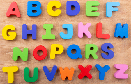 Colourful Letters of Alphabet made of wood