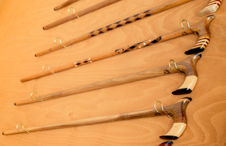 Set of wooden walking stick for sale Stockfoto