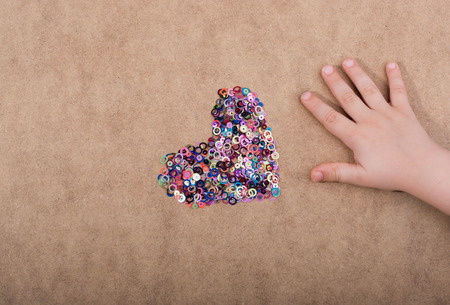 Colorful decorative objects in the shape of a heart
