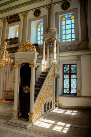 Marble minbar sermon pulpit of Ottoman times in mosque Editorial