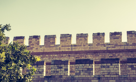 The ancient city walls of Constantinople in Istanbul, Turkey Stock Photo