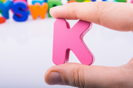 Letter cube of K of  Alphabet made of wood