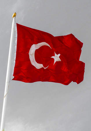Turkish national flag hang on a pole in open air Stock Photo
