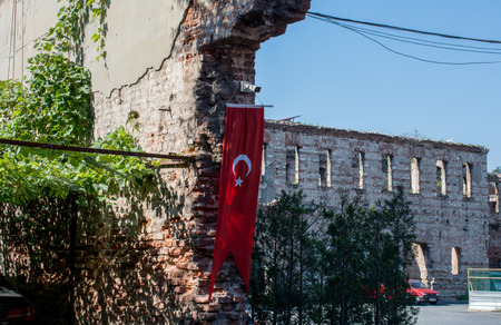 Turkish national flag hang on a pole in open air Editorial