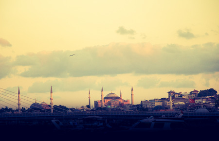 Hagia sophia and Ottoman mosque in view in Istanbul