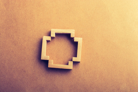 Bracket set made of piece of wood in view Stock Photo