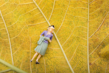 Little tiny woman figurine on a leaf macro
