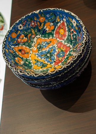 Traditional Turkish ceramic pottery items in bazaar