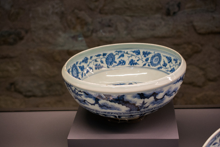 FIne examples of bowls from Ottoman Palace  ceramic collection Editorial