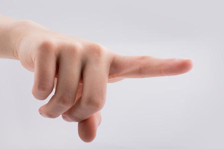 Hand pointing gesture on a white background Standard-Bild