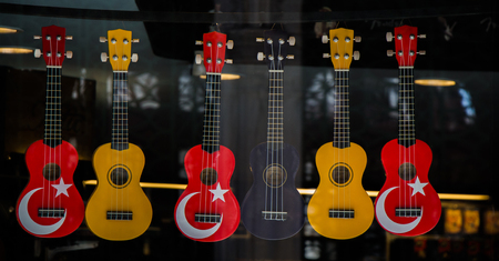 Classic stringed musical instrument guitar in view