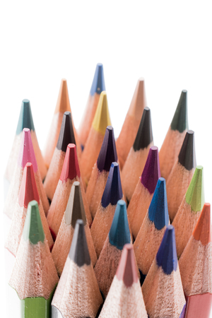 Color pencils of various color on a white background 版權商用圖片
