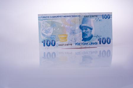 Turkish Lira banknotes of 100 Lira on white Stock fotó