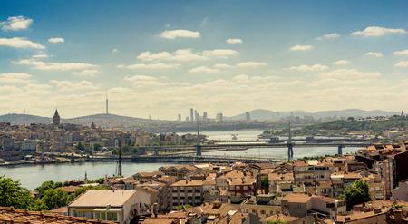 Galata tower, Galata bridge, Golden Horn bridge and Ataturk Bridge view Stock Photo