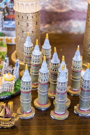 Sets of models of  the Galata Tower Stok Fotoğraf