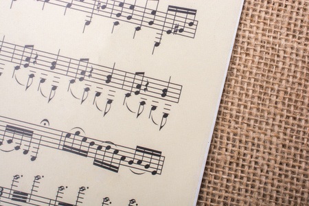 Musical notes  on paper placed on a linen canvas 免版税图像