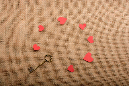 Retro Key and heart shape icons as Love concept