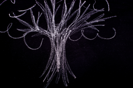 Hand drawing of tree with chalk on a blackboard 写真素材