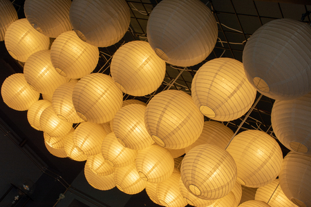 Bunch of paper lantern lamps in the display