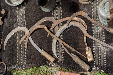 Group of rusty antique sickles in the view Imagens