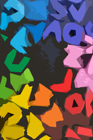 Colorful Letters of Alphabet  with color outlines on black
