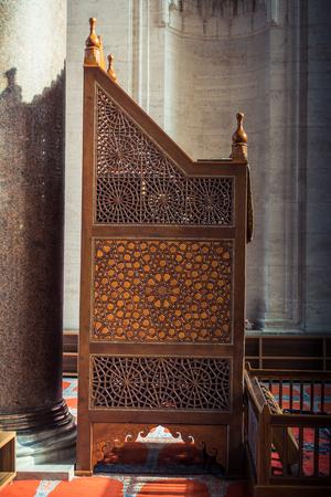 Wooden minbar sermon pulpit of Ottoman times in mosque