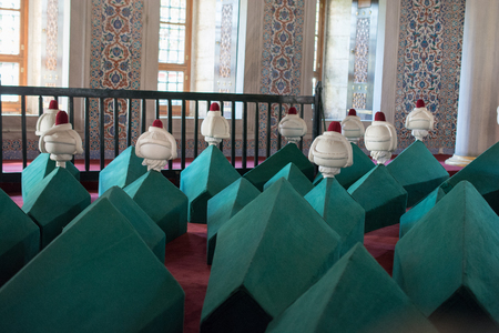 Rows of coffins in an ottoman turkish mausoleum tomb