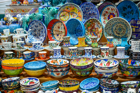 Different type of colorful Turkish ceramic tableware in the Bazaar