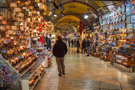 View of the shops in the Grand Bazaar in Istanbul Stock fotó