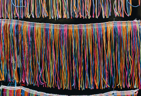 Lots of colorful braided strings in the view