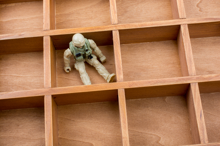 Soldier figurine in wooden box in the view