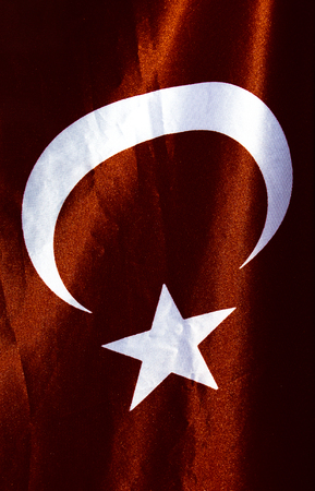 Turkish national flag and in close view Stock Photo