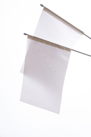 Two white flags on a white background in the  display