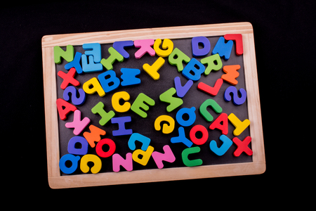 Colorful Letters of Alphabet made of wood Stock fotó