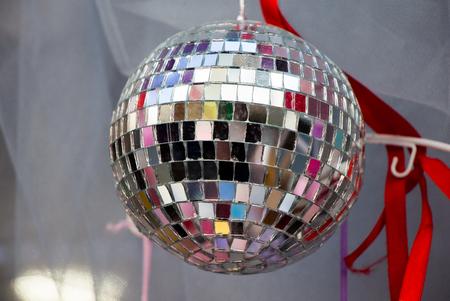 disco ball with mirror pieces for dancing in a disco club Banco de Imagens