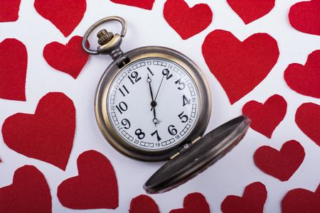 Love concept for valentine's day on  retro watch 免版税图像