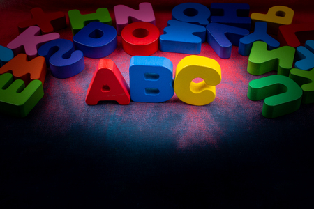 Colorful ABC Letters of Alphabet made of wood Stock fotó