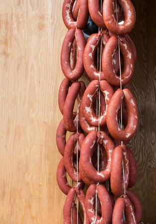 Traditional Turkish style dried sausages in view Stock fotó