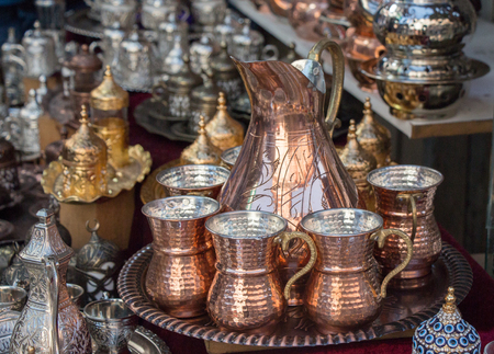 Set of metal mugs made in the old Ottoman style Imagens