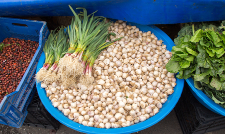 Bunch of garlic bulbs at the market place