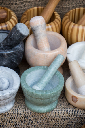 wooden mortars and pestles as a traditional  kitchenware 写真素材