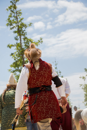 Turkish  man and horseman ethnic clothes examples 写真素材