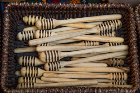 Set of honey dippers made of wood