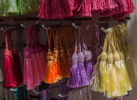 Selection of Ottoman Turkish traditional tassels in various colors 写真素材